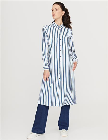 KYR Striped Long Tunic B21 81043 Blue-Ecru