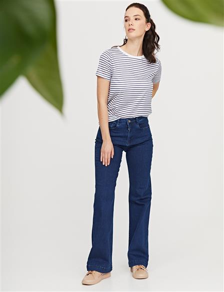 Flare Cut Denim Pantolon Lacivert B21 19116
