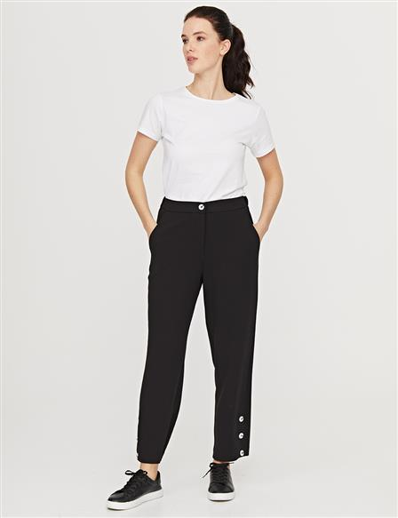KYR Hem Button Detailed Classic Pants B21 79014A Black