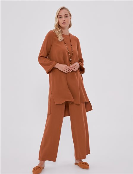 Tassel Detailed Oversize Double Suit B21 16055 Tile
