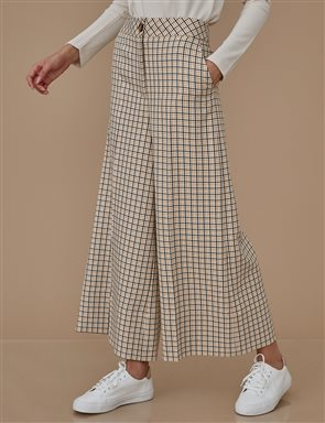 Checkered Wide Leg Pants A9 19044 Beige