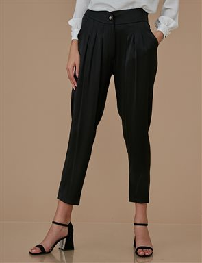 Pleated Sateen Pants A9 19064 Black