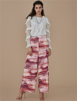 Patterned Wide Leg Pants A9 19070 Powder