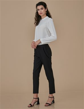 Basic Pants With Pocket Detail A9 19100 Black