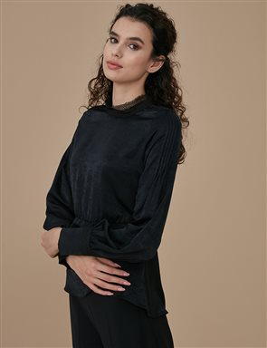 Shoulder Seam Detailed Blouse A9 10021 Black