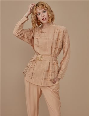 Checkered Jacquard Blouse A9 10038 Beige