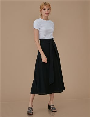 High Waisted Flared Skirt A9 12045 Black