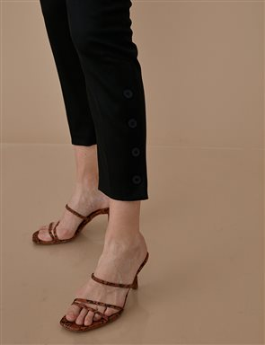 Button Leg Pants A9 19048 Black