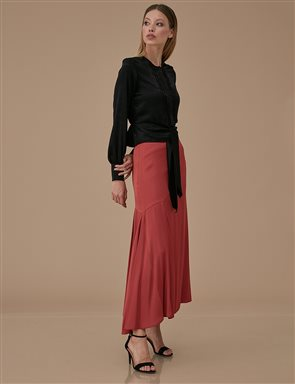 Asymmetric Sateen Skirt A9 12040 Tile