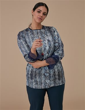 Animal Patterned Lace Tunic A9 21205 Navy
