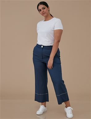 Oversize Wide Leg Pants A9 19051 Navy