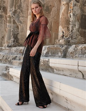 Sequin Wide Leg Pants A9 19071 Black