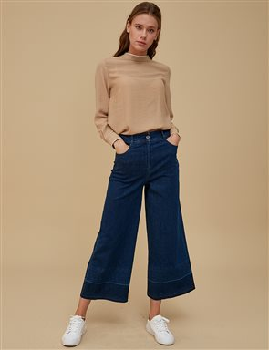 Wide Leg Denim Pants A9 19082 Navy
