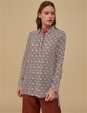 Mini Patterned Tunic Powder | Brown A9 21249