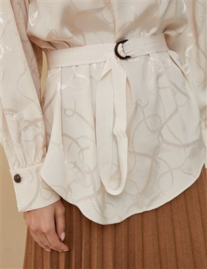 Jacquard Blouse With Sleeve Detailed A9 10057 Cream