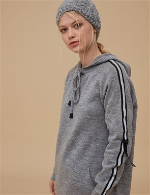 Maxi Knitwear Tunic With Hood A9 TRK49 Grey