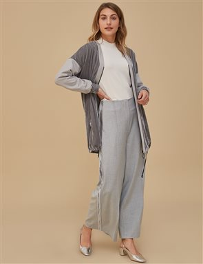 Wide Leg Pants With Velvet Stripe A9 19056 Grey