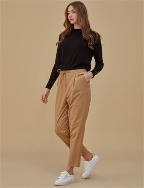 Ruched Pants Beige A9 19058A
