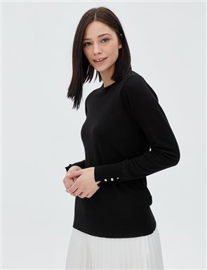 Button Detailed Knitwear Blouse B20 TRK05 Black