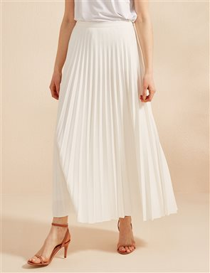 Basic Pleated Skirt SZ 12501 Ecru