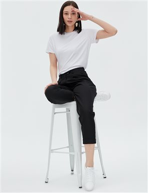 Elastic Pleated Pants B20 19027 Black