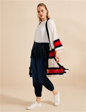 Ruched Leg Denim Pants B20 19046 Navy