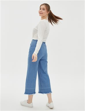 Fringe Detailed Wide Leg Pants B20 19152 Blue