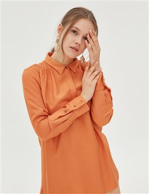 Ruched Detailed Blouse B20 10092 Orange