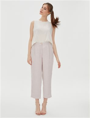KYR Fringe Detailed Pleated Pants B20 79018 Powder
