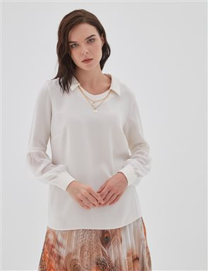 Chiffon Detailed Blouse With Necklace B20 10079 Ecru