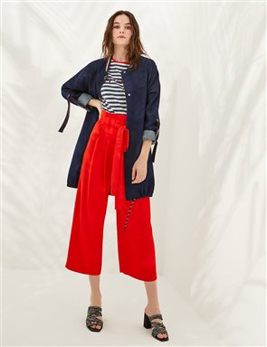 Pleated Pants With Belt B20 19155 Red