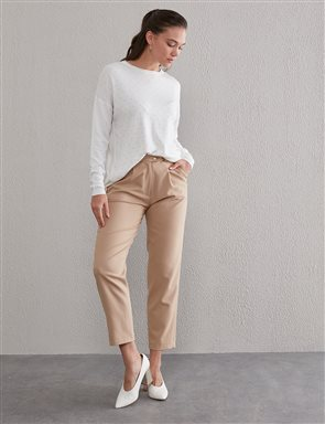 Double Button Pleated Trousers A20 19211 Beige