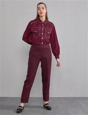 Goose Foot Patterned Pants A20 19205 Red
