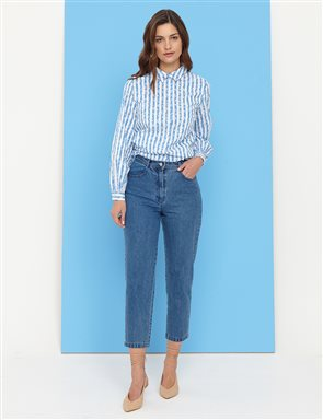 Basic Mom Jeans İndigo B21 19079A