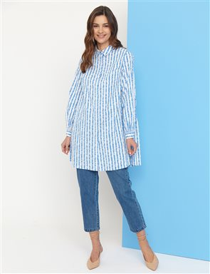 KYR Striped Tunic B21 81016 White-Blue