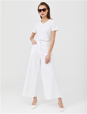 Tassel Detailed Wide Leg Denim Pants B21 19083 White