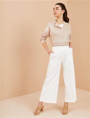 KYR Wide Leg Fabric Pants B21 79004 Ecru