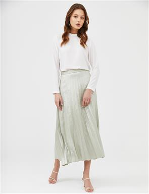 Pleated A-line Skirt B21 12011 Water Green