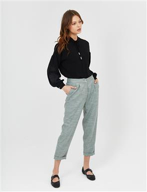 Pleated Double Leg Pants B21 19049 Green