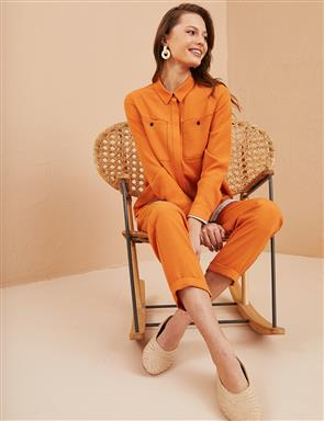 KYR Hidden Placket Tunick with Double Pocket B21 81045 Orange