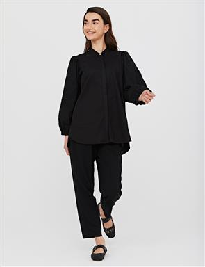 Collar and Sleeve Embroidered Shirt B21 11007 Black
