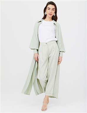 Pleated Double Leg Pants B21 19049 Light Green