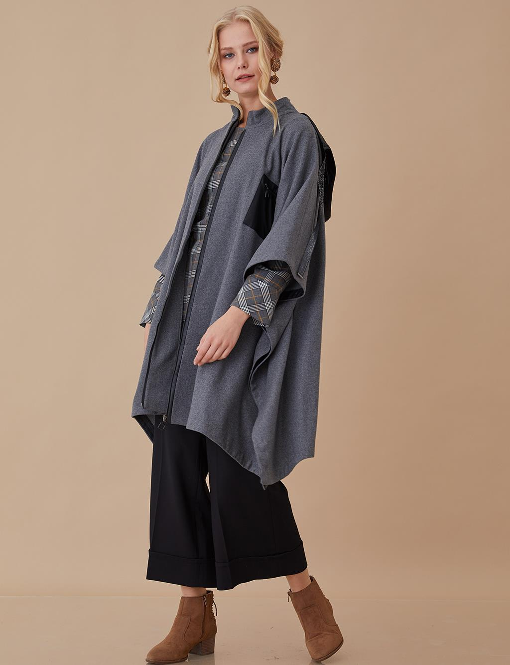 Poncho With Hood A8 30002 Smoke