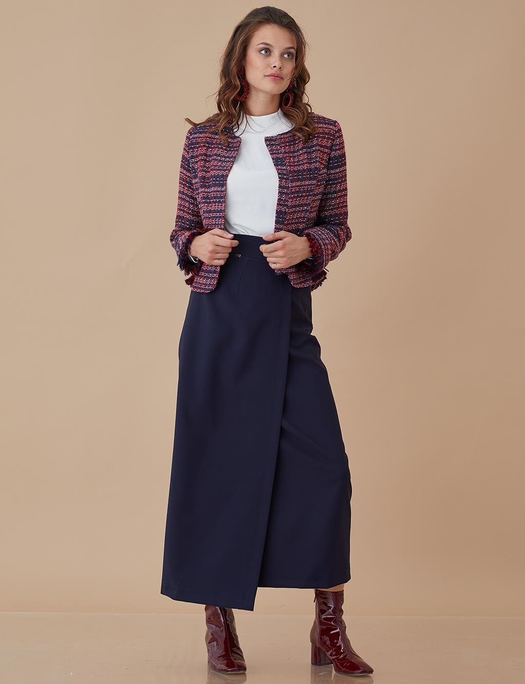 Tweed Jacket With Fringed Detail A8-13050 Navy