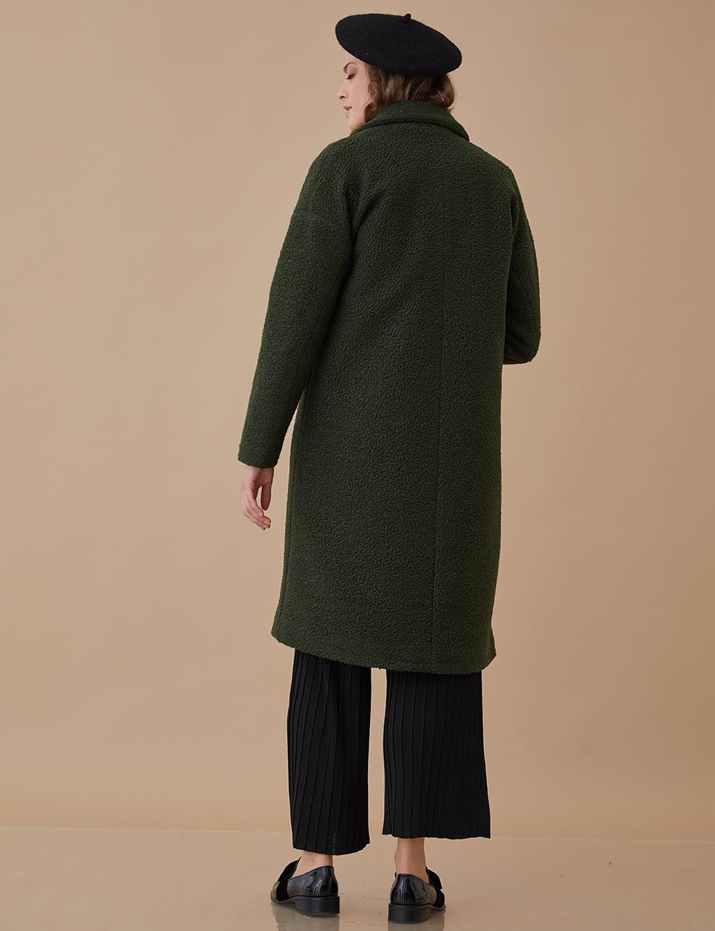 Collar Detailed Coat Green A8 17062