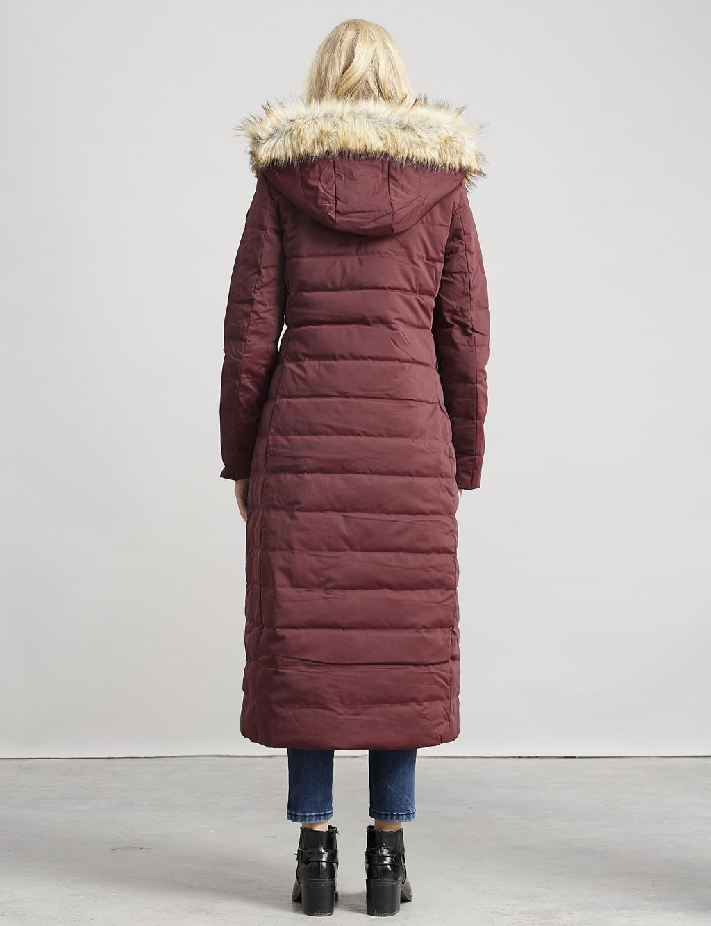 Goose-Quill Coat With Leather Burgundy A7 27004