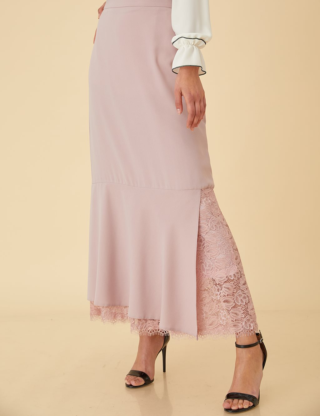 Asymmetrical Skirt with Lace B9-12089 Powder