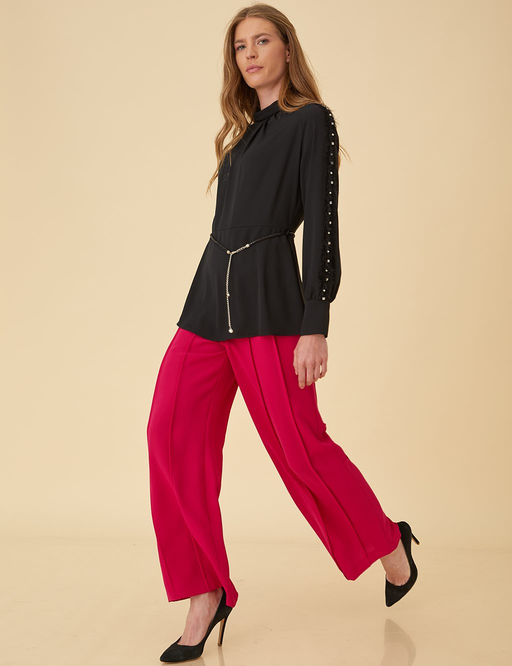 Wide Leg Pants B9-19167 Fuchsia