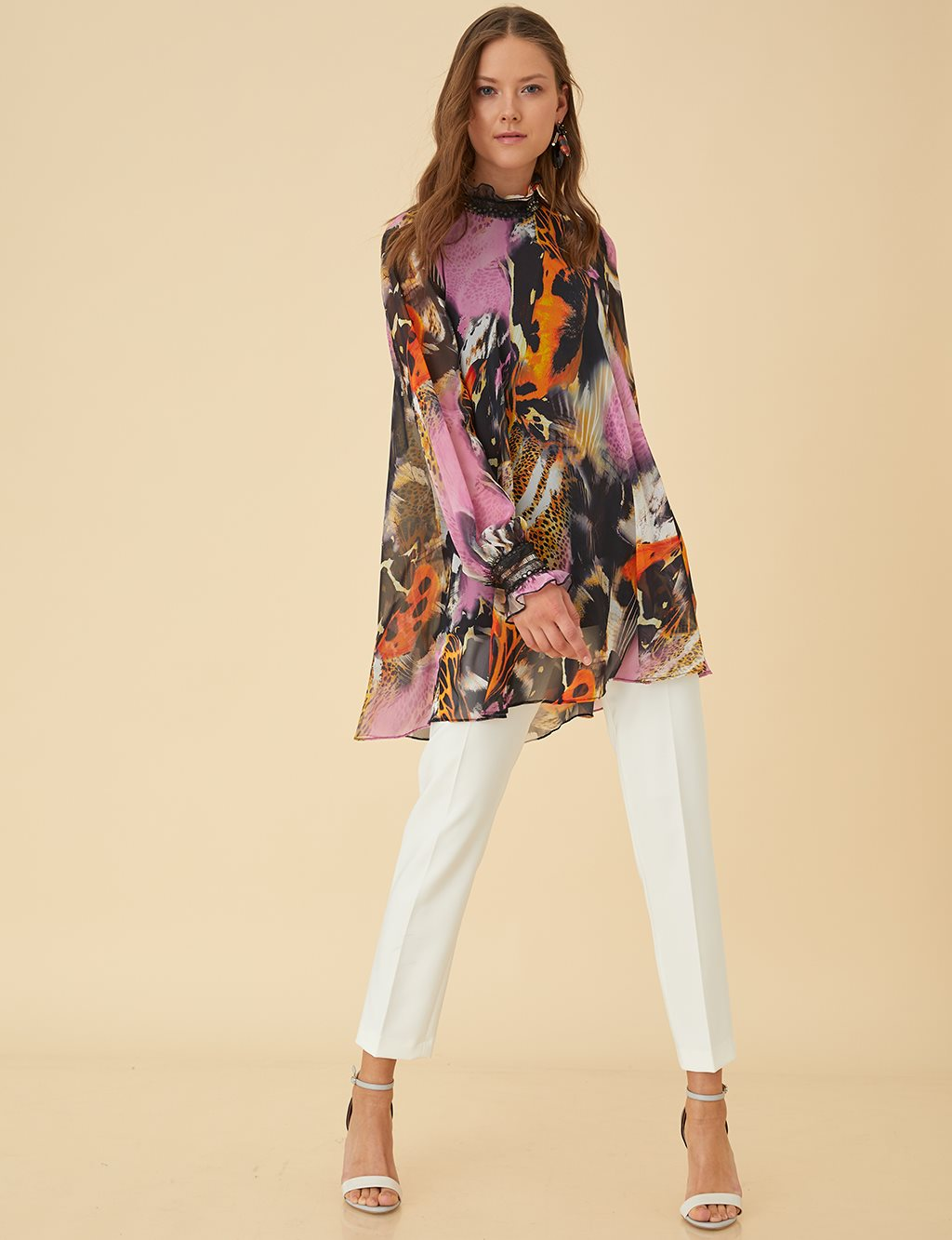 Colorful Print Tunic Top B9-21220 Lilac