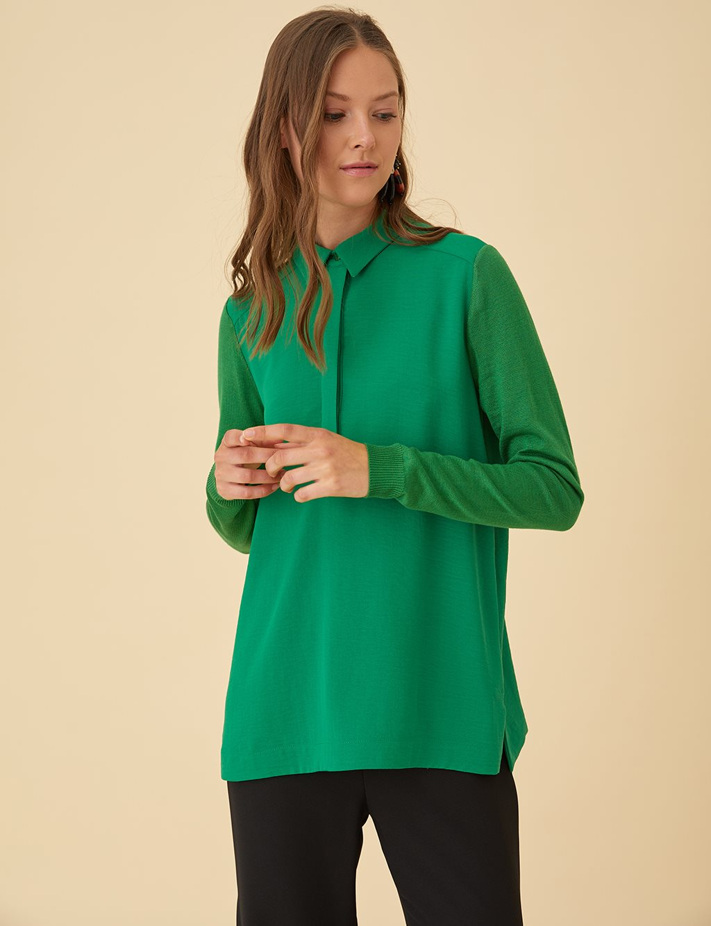 Blouse with Knit Sleeves B9-10110 Green